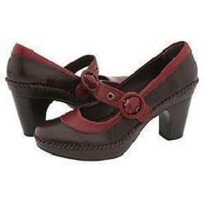 Indigo by Clarks red brown leather Mary Jane 8